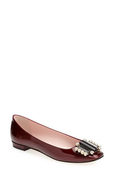 """Free shipping and returns on kate spade new york 'nisella' embellished flat (Women) at Nordstrom.com. <p><B STYLE=""""COLOR:#990000"""">Pre-order this style today! Add to Shopping Bag to view approximate ship date. You'll be charged only when your item ships.</b></p><br>A vintage-style brooch featuring enameled stones and glittering crystals ornaments the toe of a polished patent-leather flat crafted in Italy."""