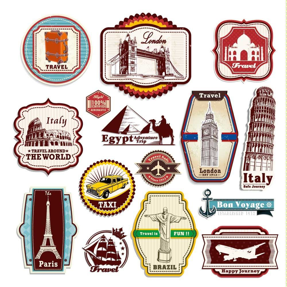 Vintage Style Travel Suitcase Luggage Labels Set Of 12 vinyl stickers set 3