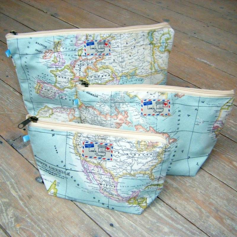 The world map atlas print cosmetic toiletry wash bag by lovely the world map atlas print cosmetic toiletry wash bag by lovely jubbly designs is available in gumiabroncs Image collections