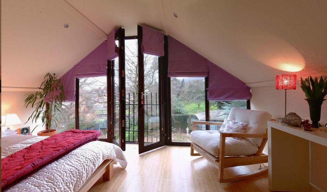 Curtain Idea For Triangular Loft Window A Loft As An Art Gallery Loft Interior Furniture Loft Conversion Design Loft Interiors Luxury Loft