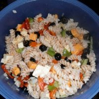 Rotini Pasta Salad  (w/black olives, cheddar and Monterrey jack cheese, red+green bell pepper, red onion and lt.Italian dressing, s+p
