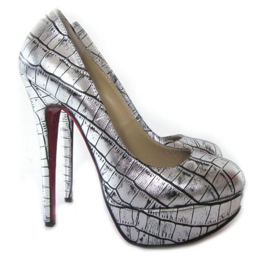 ee95b517932 Christian Louboutin Bianca 140mm Leather Platform Pumps Silver.  163.00
