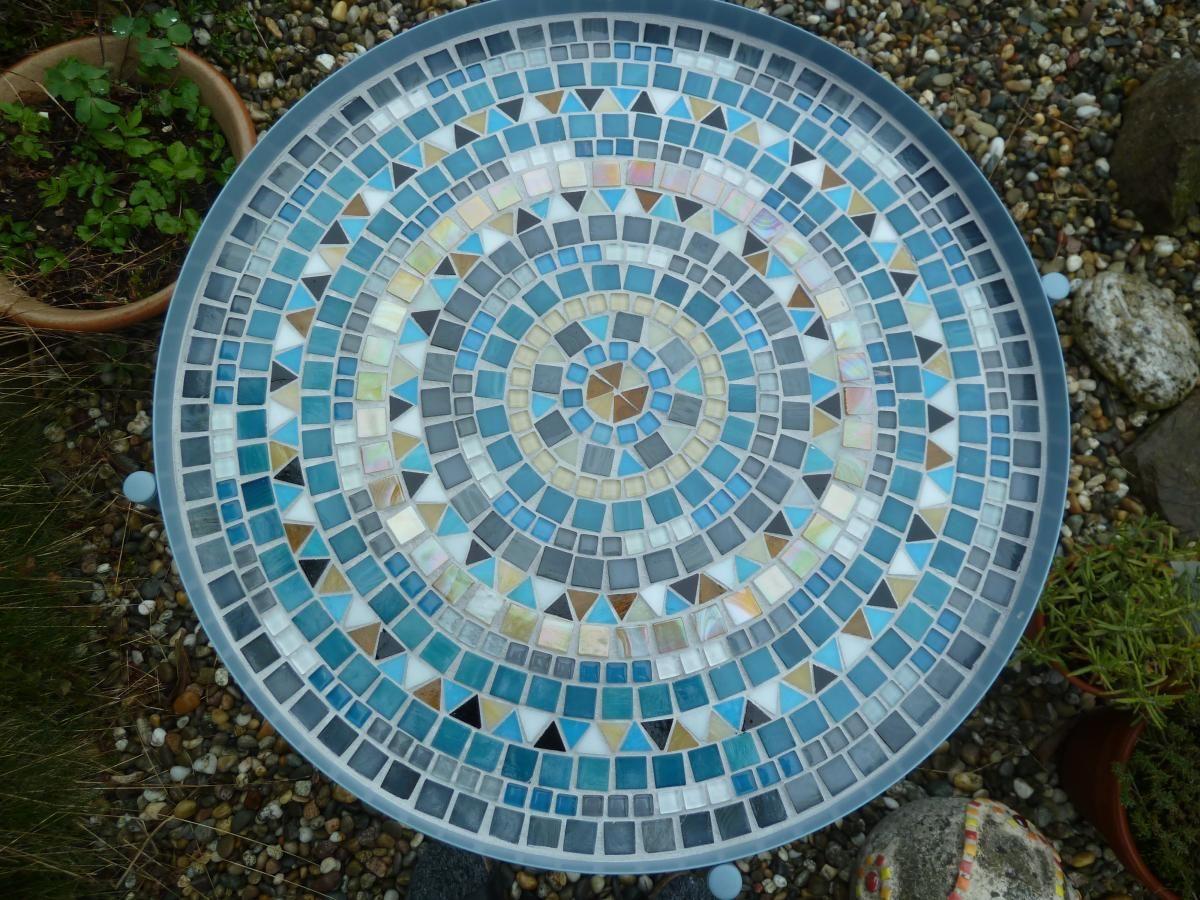 Mosaik Bestelltisch Tisch Rund Mit Abnehmbaren Tablett Blau Grau