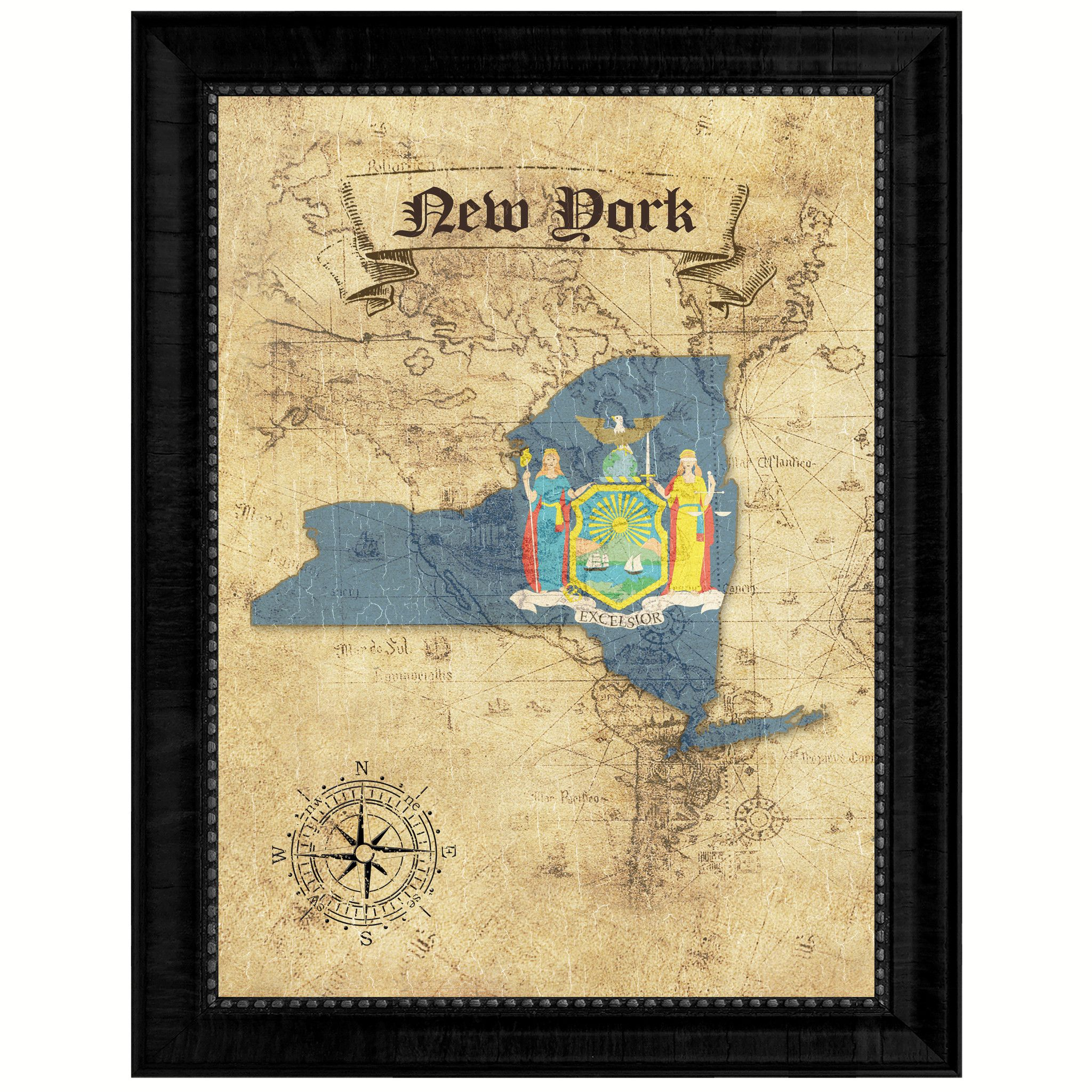 New York State Vintage Map Gifts Home Decor Wall Art Office ...