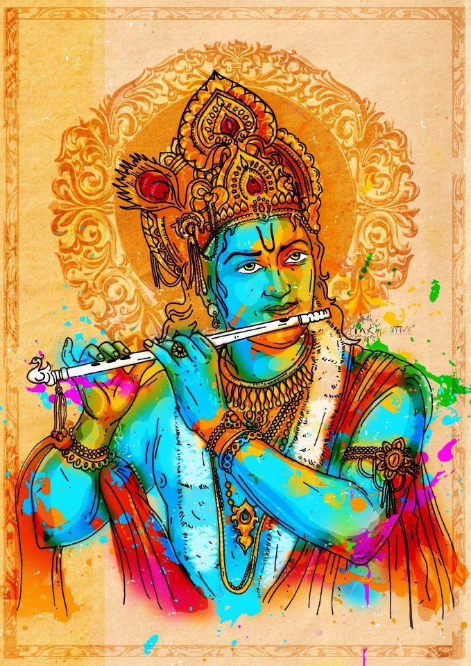 lord krishna inkquisitive illustration