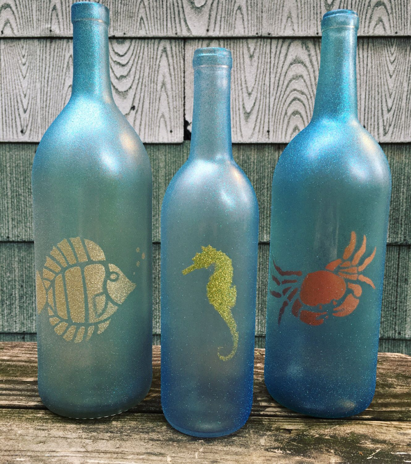 Beach themed, glitter painted wine bottle decoration, set of 3 by ...