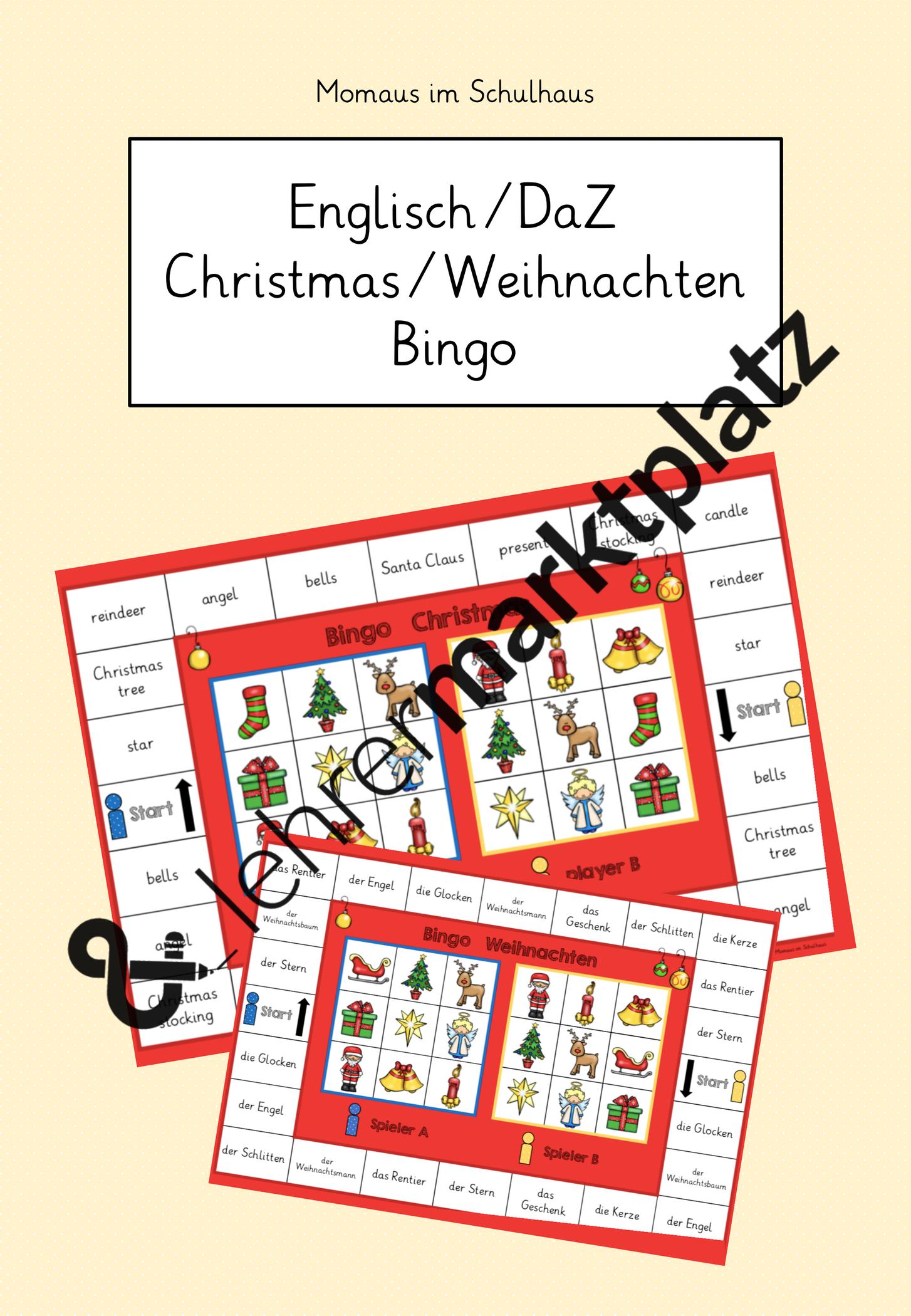 Bingo Christmas Weihnachten Unterrichtsmaterial In Den Fachern Daz Daf Englisch Fachubergreifendes Bingo Weihnachten Spiele Daf