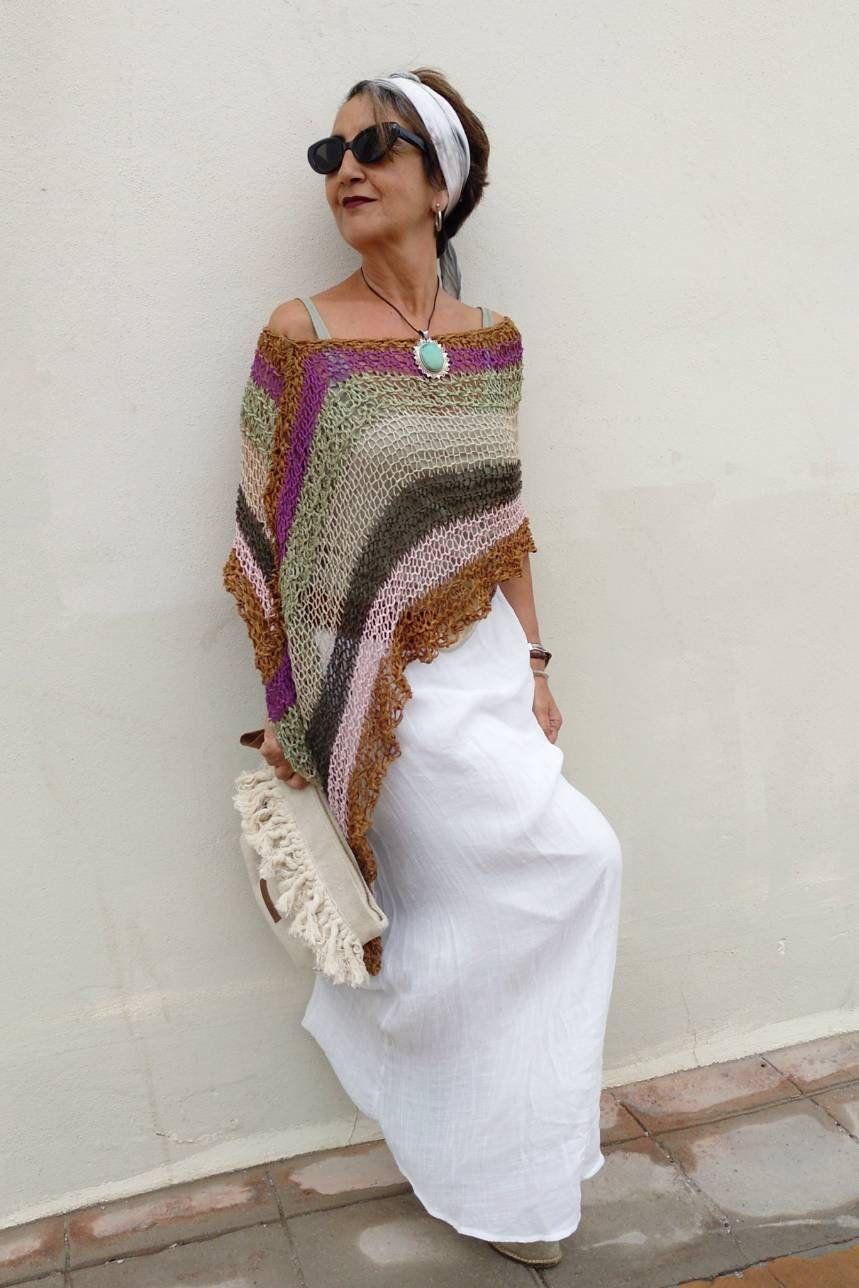 Summer boho poncho, vegan poncho for women, hippie chic knit poncho, multicolored bohemian poncho, women knit poncho,