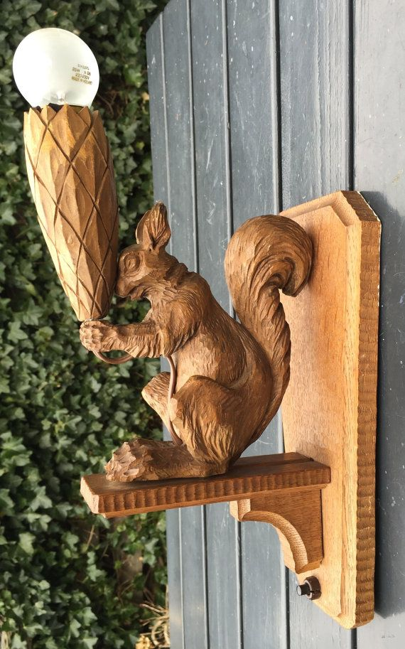 Vintage Carved Wood Wall Sconce With Squirrel Wood Wall Wall Sconces Unique Items Products