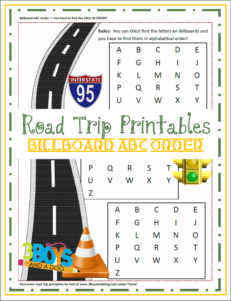 check out the newest post road trip printables for kids billboard abc order