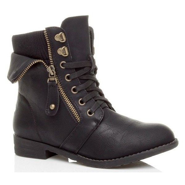 WOMENS LADIES MILITARY KNITTED COLLAR LACE UP COMBAT ANKLE BOOTS SHOES