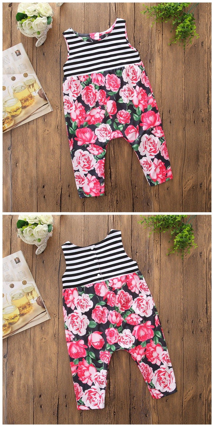 Newborn Infant Baby Girls Printed Save Our Planet Playsuit Outfit Clothes