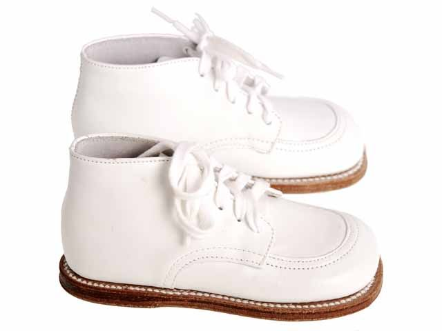 Classic Vintage White High Top Leather Childrens Baby Shoes 1950s