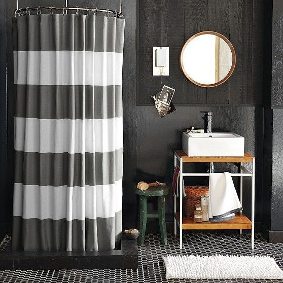 Gray And White Striped Shower Curtain In Modern Bathroom Design