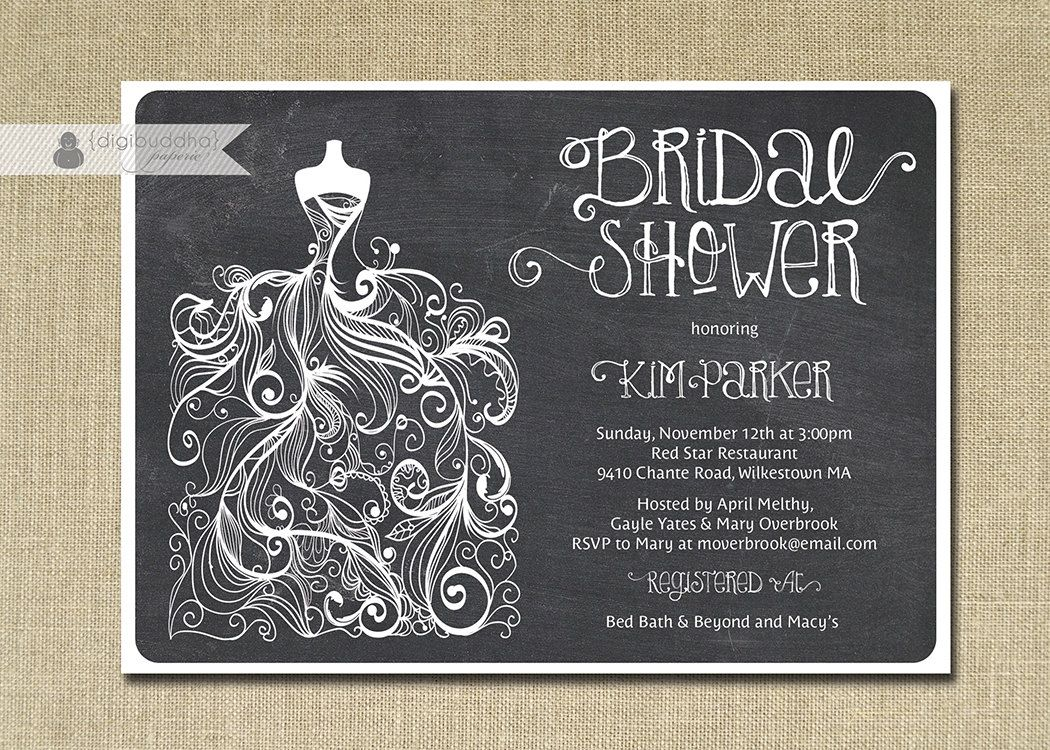 chalkboard bridal shower invitation gown digibuddhapaperie