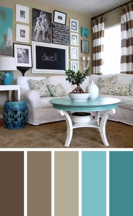 Turquoise Brown Living Room Color Scheme Ideas
