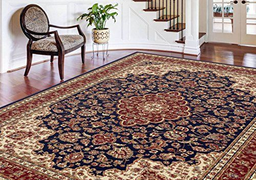 Navy Traditional Oriental Floral Medallion Area Rug Border Vines Multi Carpet (8' x 10' ( Rectangle))