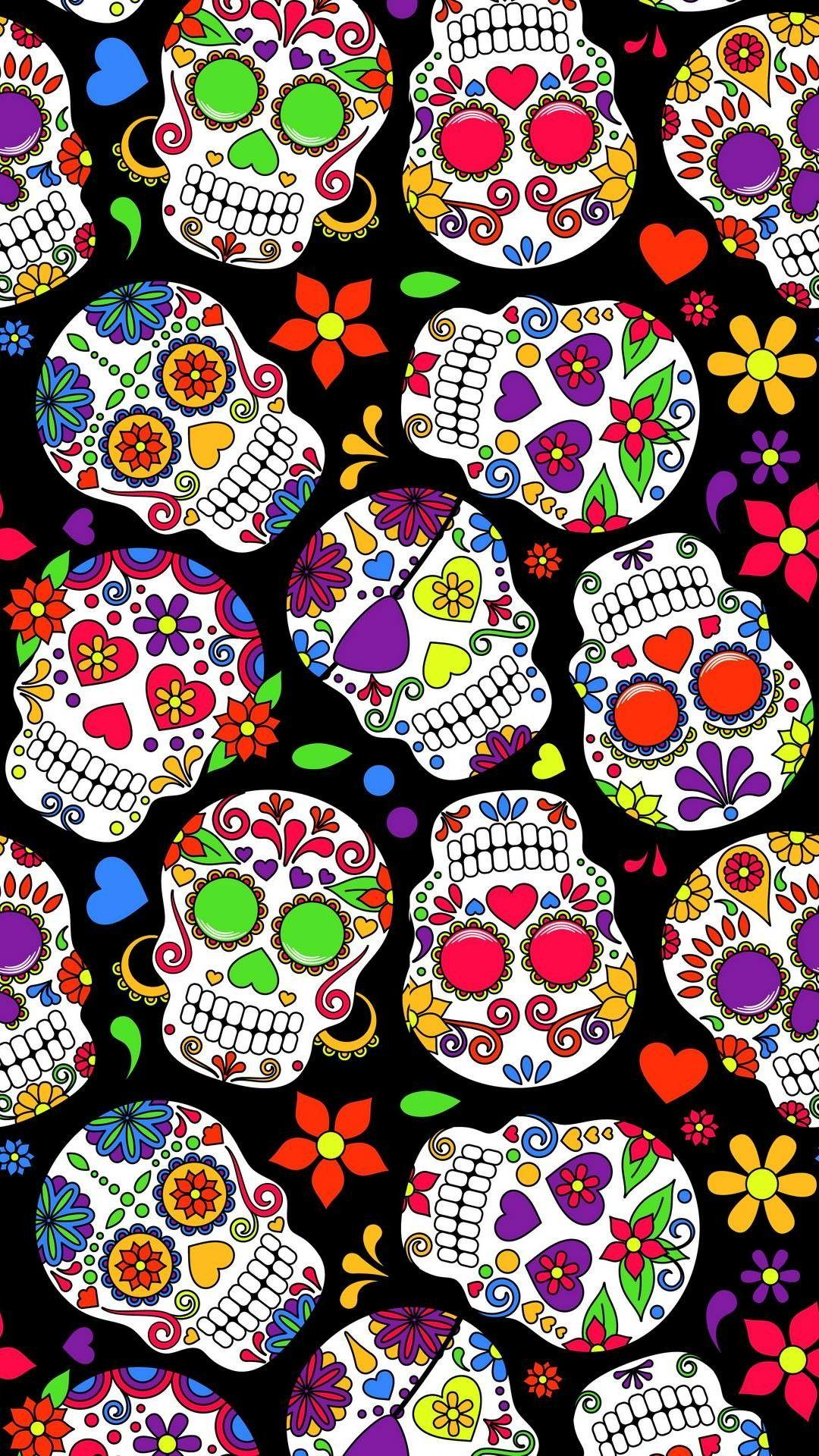 Skull wallpaper | Sugar skull, Skull fabric, Day of the dead