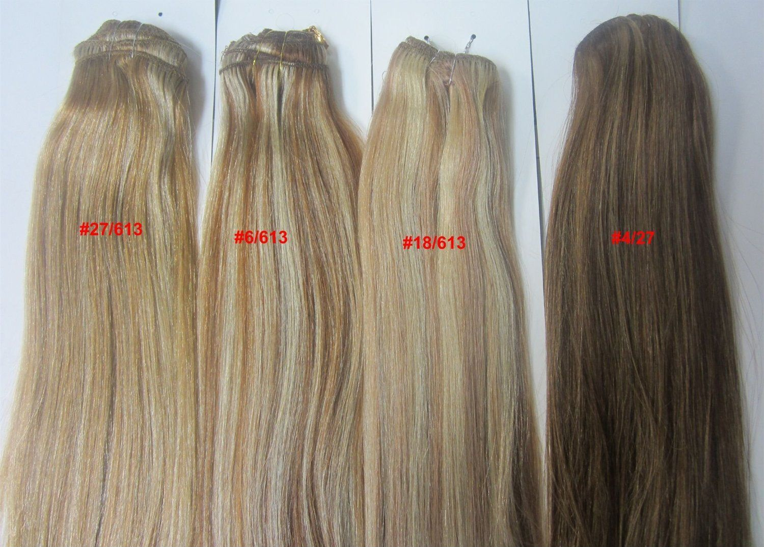 18 Clip In Human Hair Extensions 10pcs 100g Color 6613 Light