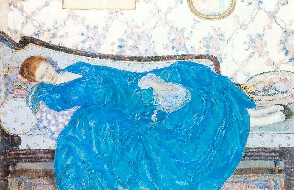 Frederick Carl  Frieseke, The Blue Gown 1917. Location: Detroit Institute of the Arts (United States)