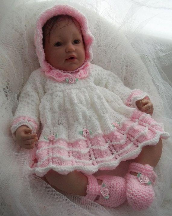 Baby Knitting Pattern Girls or Reborn Dolls Scalloped Dress, Bonnet ...