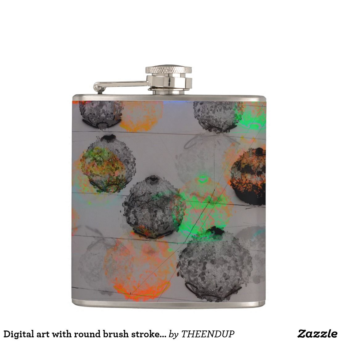 Digital Art With Round Brush Strokes Flask