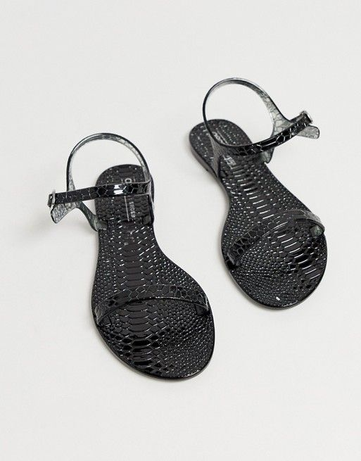 low priced b1e92 1aeb0 ASOS DESIGN Flame flat sandals in black croc   ASOS