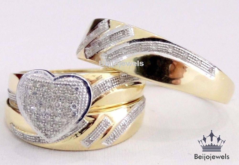 10k Yellow Gold Men Women His Her Diamonds Heart Bridal Wedding