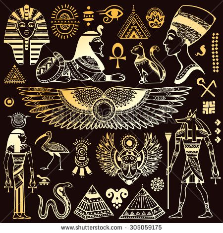 set of vector isolated egypt symbols and objects | egyptian