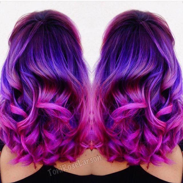 Purple Mermaid Hair Melting Into Magenta Hair Color By Colordollz Hotonbeauty Com Magenta Hair Colors Magenta Hair Hair Styles