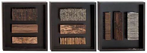Set/3 Abstract Wood Wall Decor Plaques Modern Art Panel