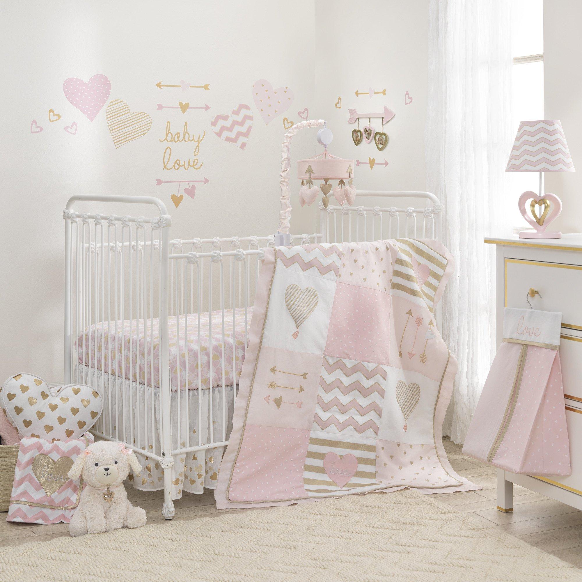 Baby Love Metallic Gold Pink White Hearts Stripes And Chevrons 4 Piece Nursery Crib Bedding Set In 2020 Crib Bedding Girl Girl Crib Bedding Sets Baby Crib Bedding