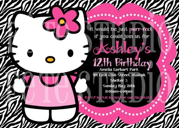 Hello+Kitty+Pink+&+Zebra+Invitation+by+fetestudio+on+Etsy,+$11.00