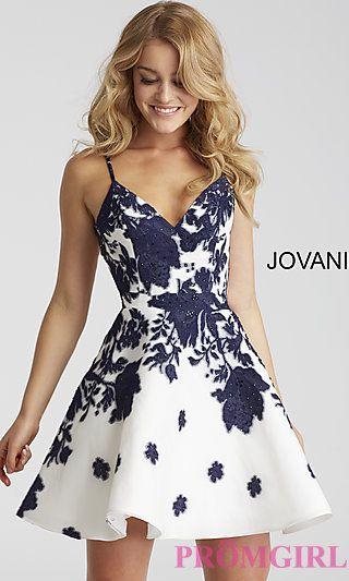 7338782298f Short A-Line Jovani Floral-Print V-Neck Party Dress