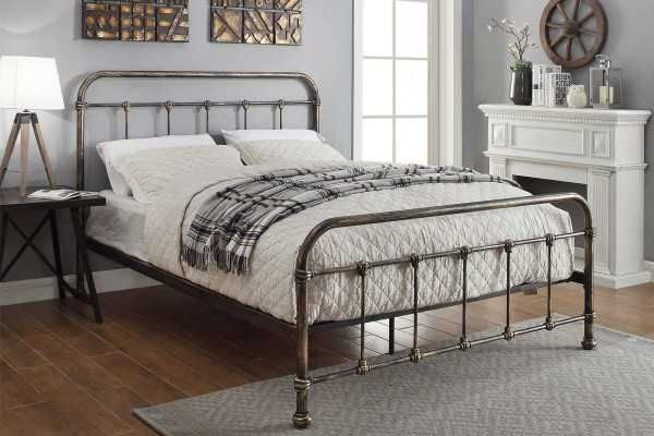 Burford Rustic Antiqued Victorian Hospital Style Metal Bed Frame ...