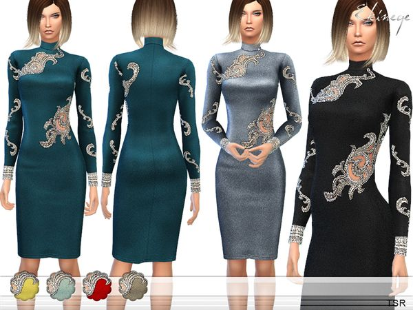 The Sims Resource: Embellished Dress by Ekinege • Sims 4 Downloads
