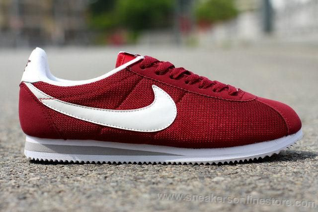 Selling Nike Classic Cortez 2015 Latest Running Shoes For Women Mesh Wine  Red And White Logo