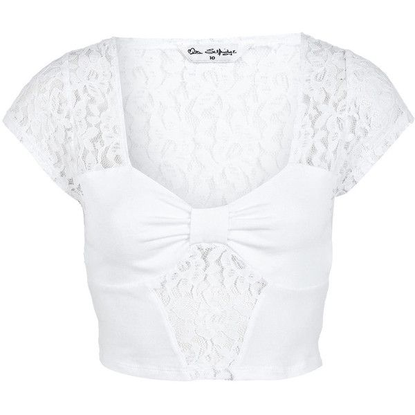 555ce8c732 Miss Selfridge White Bow Tab Lace Crop Top ( 12) ❤ liked on Polyvore  featuring tops