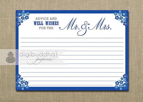 Advice Card Well Wishes for the Mr & Mrs Bride Groom Blue Flowers Floral Bridal Shower Game Favor Printable or Printed - Priscilla Style. $8.00, via Etsy.