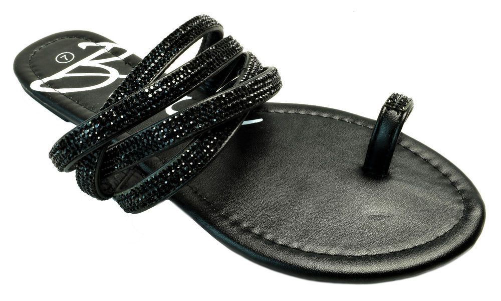 b65b16c6d70e Womens Rhinestone Jeweled Strappy Toe Ring Slide Sandals Black Gray Camel   RhinestoneSandals