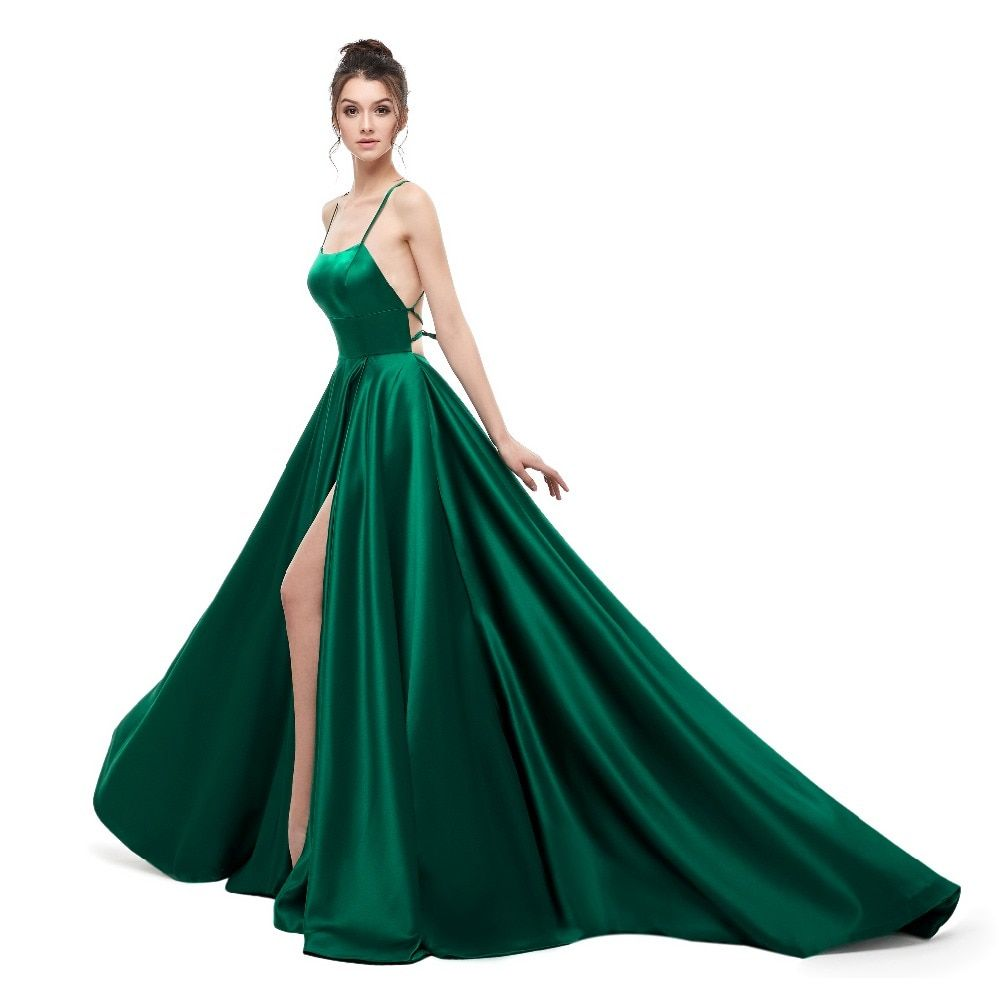 Green Evening Dress 2019 A Line Satin with Spaghetti Straps Long Prom Party  Dress Side Split b2363fd90778