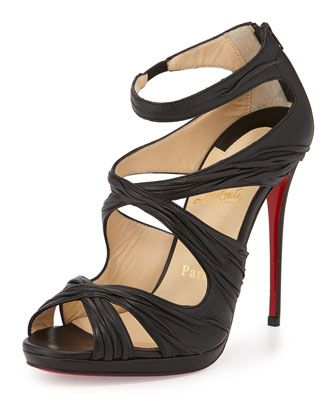 Kashou Ruched Red Sole Pump, Black by Christian Louboutin at Neiman Marcus.