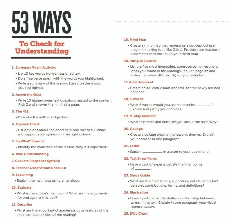53 ways to check for understanding school psychologist - formative assessment strategies