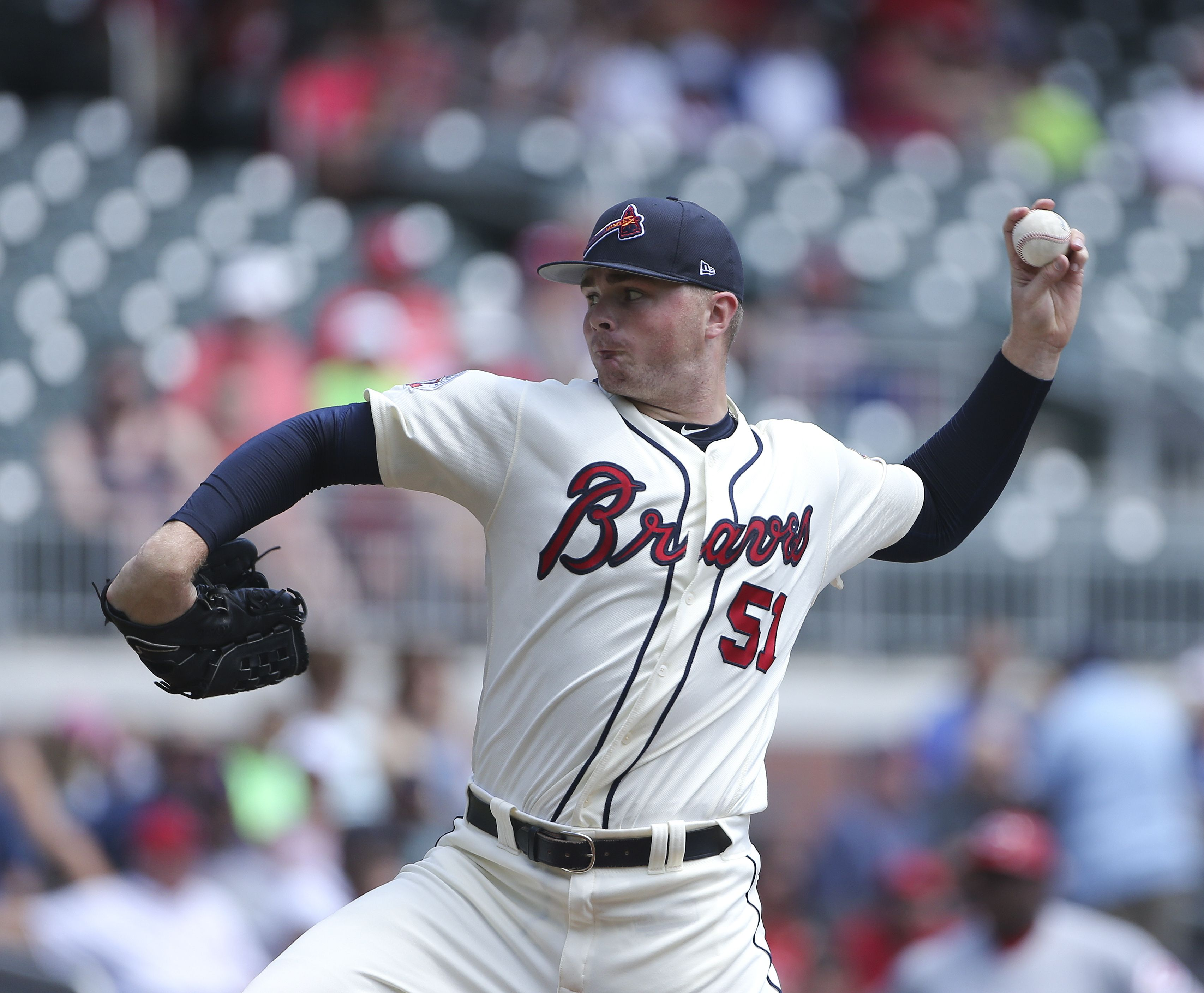 Atlanta Braves Starting Pitcher Sean Newcomb 51 Works Against Cincinnati Reds In The First Inning Of A Baseball Game Atlanta Braves Baseball Baseball Games