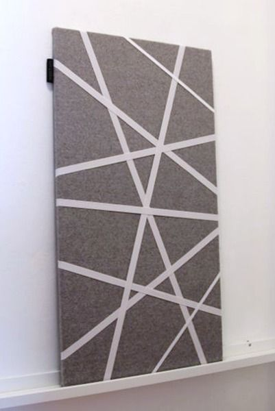125 design pinboard memoboard made in germany munich grey felt with white ribbons. Black Bedroom Furniture Sets. Home Design Ideas
