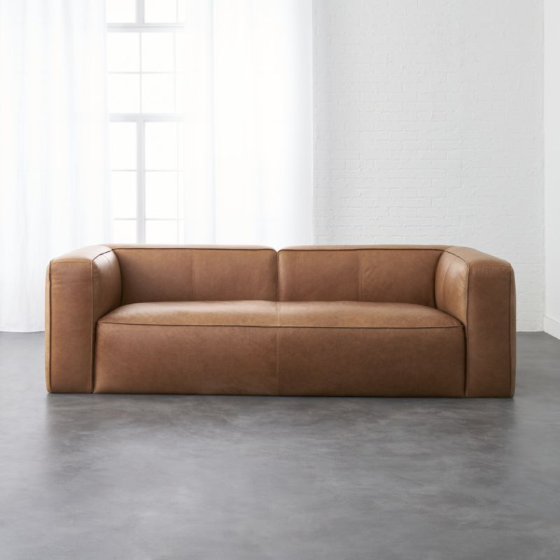 Lenyx cognac leather sofa fjord family room final style - Overstuffed leather sofa living room ...