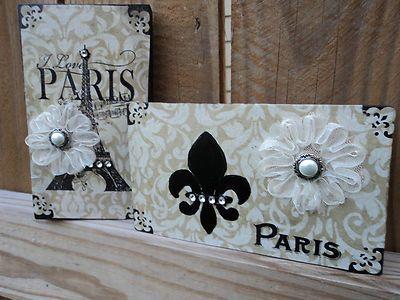 NEW Paris decor blocks sign decorative paper black and toast almond French decor