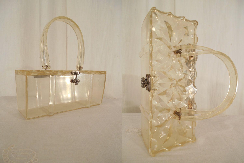 1950s Handbag// Lucite Handbag// 50s purse// Box Bag// Lucite Lunch Box Bag// Clear Handbag// Carved Lucite Purse// Clear Lucite Handbag by RockabillyRavenVtg on Etsy