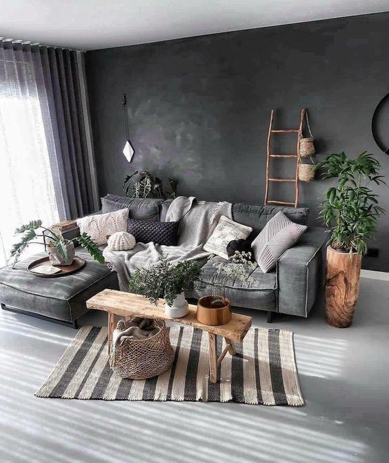 Scandinavian Living Rooms Dark Walls With Grey Interior Organic Living Room Dark Living Rooms Boho Living Room
