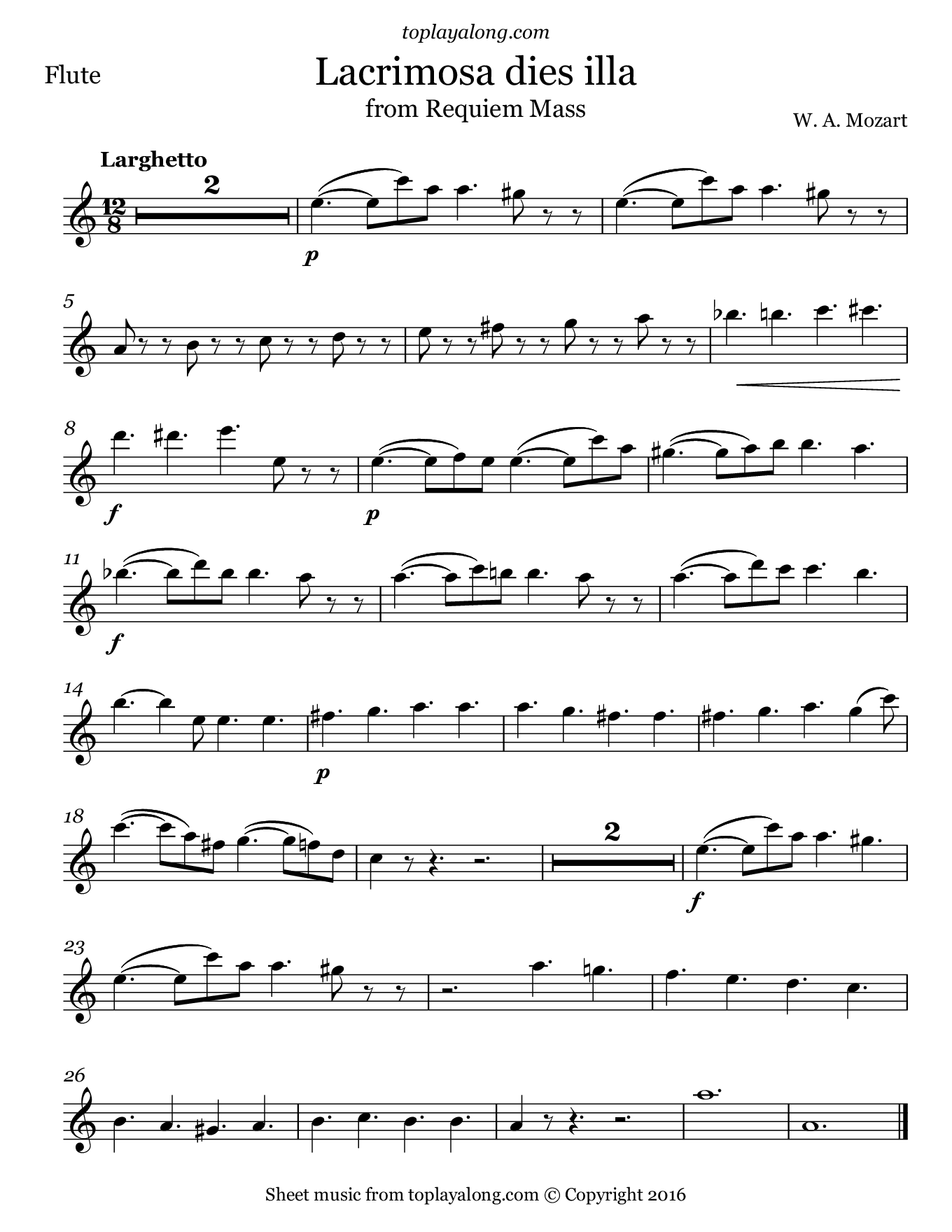 Lacrimosa From Requiem Mass By Mozart Free Sheet Music For